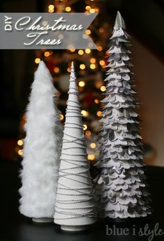 Simple but glam DIY Christmas trees ~~ made with basic crafting supplies, including fur ribbon, beads, and scrapbook paper.