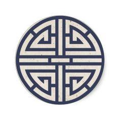 Navy Korean Paper(Hanji) Ancient Symbol Of Luck Sticker