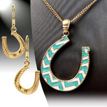 Horseshoe Necklace & Earring Set at Diva Shop  http://www.DivaShop.co/#ShastaR
