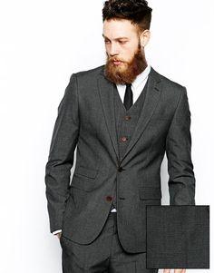 ASOS | ASOS Slim Fit Suit Jacket In Grey Dogstooth at ASOS