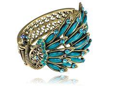 Alilang Antique Gold Tone Peacock Bracelet Bangle Blue Crystal Rhinestone Gems