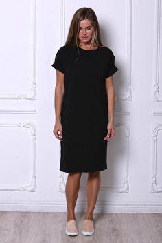 платье-футболка черное медиум