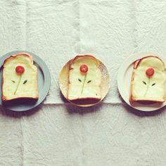 tomato & cucumber flower toast | ♥ Menu for my girl ♥ | Pinterest