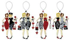 """Wine Divas Wine Charm and Magnet.  Free Ground Shipping. Wine Charm, Magnet & Ornament all in one!  Sayings: """"Girls Night Out...Somethings just require Wine"""".  """"You might be a Diva if...Happy Hour is your group Therapy"""". """"A glass of wine a day keeps the stress away Vino"""". """"You might be a Diva If your collection of wine bottles are all empty..."""" $10.99.  https://www.happyholidayware.com/product/wine-divas-wine-charm-magnet/"""