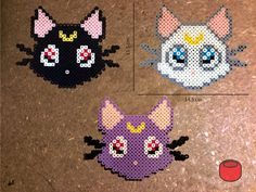 Luna Artemis Diana Cat Sailor Moon Magnet from Perler by DJbits