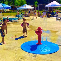 Swim club in Oregon that wanted to have splash pad by their swimming pool to give the little ones something to do.  Just attach a garden hose for an instant splash pad party.