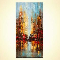 Modern cityscape painting by the artist Osnat Tzadok. Choose from thousands of modern, contemporary and abstract paintings in this online art gallery. Artwork: 'City Reflection', dimensions: 20x40. #9317
