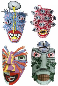 """Dag Weiser Cardboard mask.  The site has """"5 Amazing Cardboard Artists and Their Sculptures"""" - really awesome! (SS)"""