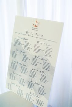 Nautical wedding seating chart: http://www.stylemepretty.com/destination-weddings/2016/09/05/this-amsterdam-love-fest-is-all-about-the-romance/ Photography: Anouschke Rokebrand - http://anouschkarokebrand.com/
