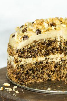 vegan walnut cake cross section