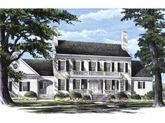 Colonial house plans include influences from Cape Cod style, Adam/Federal, Georgian, and others. These traditional house design plans feel timeless. Colonial House Plans, Southern House Plans, Southern Homes, Southern Style, House Floor Plans, Georgian Style Homes, Colonial Style Homes, Dutch Colonial, Style At Home
