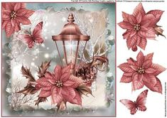 Beautiful Christmas Lantern Topper on Craftsuprint designed by Julie Hutchings - Beautiful Christmas Lantern Topper with decoupage - Now available for download!