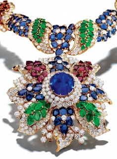 Necklace of Diamonds, Sapphires, Rubies and Emeralds by Alexandre Reza. via: