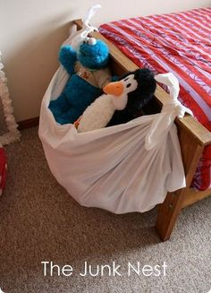 What a great idea! The JUNK NEST is great for storing all your kids cuddly toys & other small items in their room. Simply tie an old sheet to the ends of their bed! Here are some other tips to help kids tidy their rooms too: https://secure.zeald.com/under5s/results.html?q=tidy+room