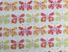 Floral Butterflies on Cream Fabric OmasFabricAndGifts, $8.00 A yard