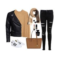 Imagem através do We Heart It #bag #black #casual #girl #inspiration #outfits #sneakers