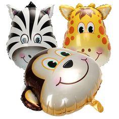 3PCS Inflatable Animal Face Lion Monkey Tiger Zebra Foil Balloon Birthday Party Decor kid Toy Gift