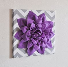 Wall Decor Lavender Dahlia on Gray and White Chevron by bedbuggs, $34.00