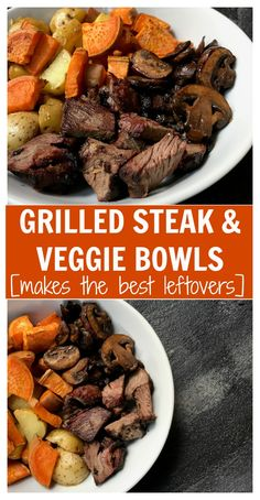 If you love leftovers then these Grilled Steak and Veggie Bowls are for you! Prep the ingredients ahead of time and reheat for another easy weeknight meal. Pork Rib Recipes, Grilled Steak Recipes, Grilled Meat, Veggie Recipes, Dinner Recipes, Cooking Recipes, Healthy Recipes, Grilling Recipes, Grilled Steaks