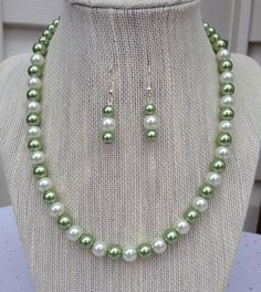Green Pearl Necklace, Olive Green Necklace, Bridesmaid Gift, Green Wedding Jewelry, Beaded Jewelry, Green Earrings, Bridesmaid Jewelry