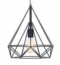 Contemporary Geometric Black Finish Pendant   Skandi Inspired