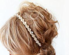 Wedding headband Rhinestone and Pearl headband Bridal by ADbrdal