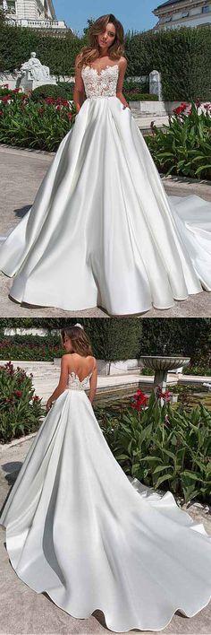 Satin Neckline A-line Wedding Dress With Pockets Lace Appliques WD217 #satin #weddingdress #pocket #lace #weddings #pgmdress #ivory