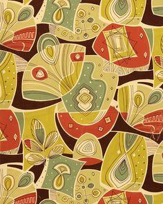 Wat een mooie tinten bij elkaar! 50s-textile-design