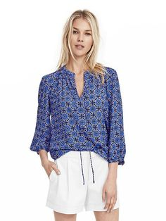 Mosaic Tie-Front Shirt | Banana Republic