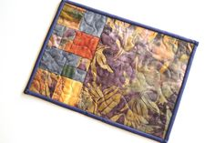 Batik Quilted Patchwork Mug Rug, Small Place Mat or Mini Quilt in Purple, Orange and Blue by MyBitOfWonder on Etsy