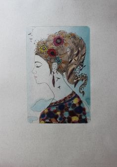 Dry point))))A3)From a series Ladies) Lady of the Wind)