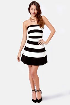 251cb95cae52 Pretty Black and White Dress - Striped Dress - Strapless Dress - $39.00  Pretty Black,