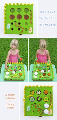 Pretend play Garden vegetables play set Gift toddler Waldorf