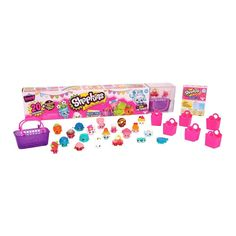 Shopkins Season 4 Mega Pack includes 20 Shopkins Plus 6 Shopping Bags & 1 Shopping Basket.  Styles vary.  For ages 5 and up.