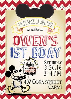 Classic Mickey Mouse Birthday Invitation DIGITAL by TagsforTots
