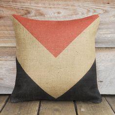 Geometric Chevron Burlap Pillow - with different colors for the living room Burlap Pillows, Decorative Throw Pillows, Chevron Burlap, Chevron Pillow, Decorative Accessories, Home Accessories, Home And Deco, Decoration, Pillow Covers
