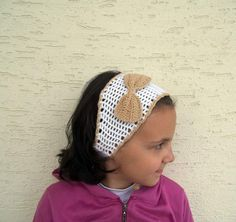 Crochet headband in white and camel spring by KnitterPrincess, $12.90