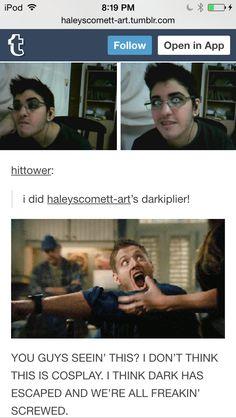 Someone did an amazing cosplay of haleyscomett's Darkiplier! Also, notice Haley's reaction lol