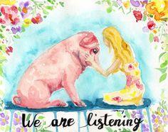 Pig Art - Watercolor Pig - Vegan Home Decor - Gift For Vegan - Vegan Print - Animal Rights - Animal Lover Gift - Pig Wall Art - Vegan Gift Vegan Memes, Vegan Quotes, Vegan Animals, Farm Animals, Pig Art, Stop Animal Cruelty, Animal Rights, Going Vegan, Yule