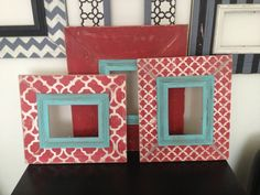 SAMPLE SALE Wall grouping set of 3 distressed picture frame turquoise blue red white shabby chic rustic Moroccan damask stripe