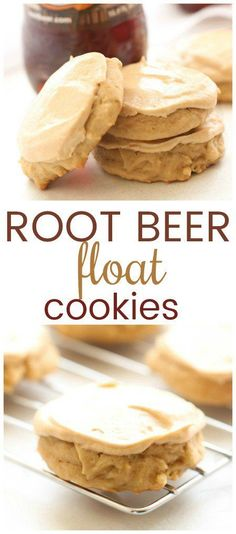 Root Beer Float Cookies – Six Sisters' Stuff They are super soft and moist and the frosting on top is what makes the cookie! If you love Root Beer, you will love these cookies. Chocolate Chip Cookies, Chocolate Cookie Recipes, Chocolate Chips, Hot Chocolate, Köstliche Desserts, Delicious Desserts, Dessert Recipes, Cake Mix Cookie Recipes, Yummy Cookies