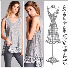Marled Ruffle Hem Knit Top Heather grey N neck knit top with ruffle hem detail and side slits. Size S, M, L add a lace extender for a really cute look. Threads & Trends Tops