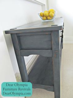 Rustic Side Table in CeCe Caldwell Mineral CeCe Caldwell's Chalk and Clay Paint in Vermont Slate with Clear Wax
