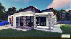 2 Bedroom House Plan MLB 107.4S - My Building Plans South Africa My Building, Building Plans, 2 Bedroom House Plans, Tuscan House, Double Garage, Modern House Plans, Open Plan, Master Suite, South Africa