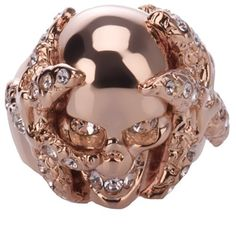 Alexander McQueen Skull and Coral Ring