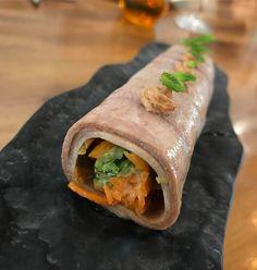 Canelón de lengua de vaca ibicenca relleno de zanahoria pepino y calabacín con salsa de soja y dashi. #IbizaSabor17 #Ibiza #sabrisa