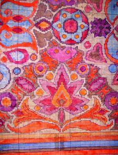 Gázláng-motívum szegéllyel (Magyar virágos szőnyeg) / Carpets of Artur Lakatos (1880 - 1968) Execution Plans on painted mm-paper