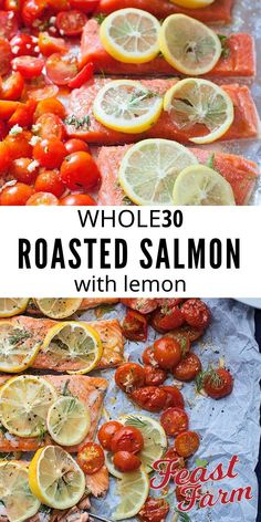Baked salmon fillet with lemon and dill is fast, healthy and transforms simple ingredients in to big bold flavors. 30 minutes or less! Easy Clean Eating Recipes, Easy Homemade Recipes, Oven Roasted Salmon, Food Meaning, Healthy Comfort Food, Healthy Soups, Salmon Fillets, Salmon Recipes, Chicken Recipes