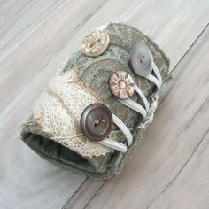 Fiber Art Cuff w/vintage buttons and lace