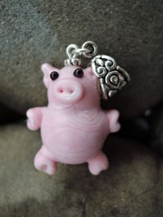 Cute pink piggie glass lampwork beads pendant...fits most necklaces by BdazzledJewellery on Etsy